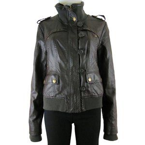 NEW!! Dark Brown Faux Leather Jacket